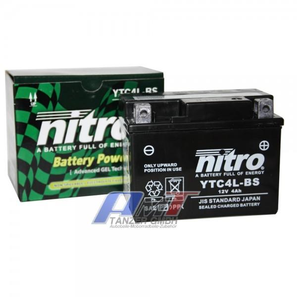 Nitro Motorradbatterie GEL YTC4L-BS 12V  #91033